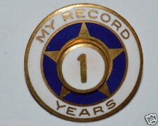 """WOW Vintage """"My Record"""" Safe Driver? 1 Year Gold Star Lapel Pin Sales Award?"""