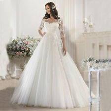 Boat Neck Ball Gown/Duchess 3/4 Sleeve Wedding Dresses