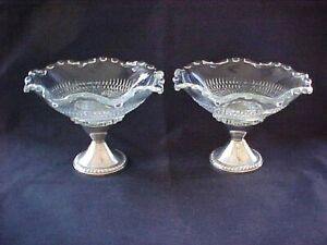 2 Vintage Duchin Creation Weighted Sterling Silver Glass Compote Candy Dishes