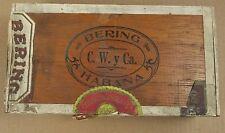 Bering Habana Claro Cigars Tampa Florida Vintage Wooden Cigar Box