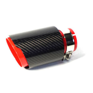 63MM IN-89MM OUT Carbon Fiber Car Exhaust Tip Muffler Pipe Red Steel Universal