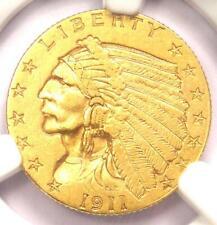 1911-D Indian Gold Quarter Eagle $2.50 Coin (Weak D) - NGC AU55 - $2,450 Value!