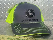 John Deere Cap hat grey structure twill w/ reflective neon green Mesh licensed