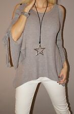 Must Have Pullover Strick Schulterfrei Blogger Tunika Weich M 38 - 42 L Taupe