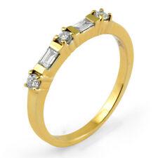 Ring 14k Gold Yellow F Vs1 Sz 8 0.50 Ct Round Baguette Diamond Wedding Bar Set
