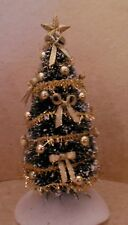 Dollhouse Miniature Handcrafted Sparkle Christmas Tree w/Gold Bows & Balls 1;12