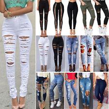 Women Denim Pants Ripped Destroyed Slim Skinny High Waist Jeggings Jeans Trouser