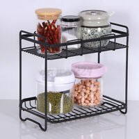 2-Tier Kitchen Metal Sink Rack Organizer Storage Canned Spice Stand Shelf Holder