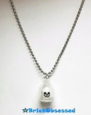LEGO Custom Jewelry: SKULL IN A JAR NECKLACE! Skeleton Head Harry Potter *CLEAR*