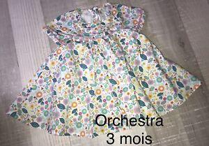 Orchestra 3 MOIS FILLE  : Robe Fleurie  ÉTÉ TBE