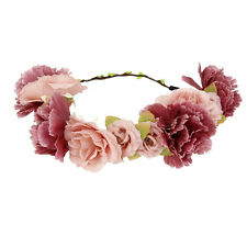 Flower Crown Wedding Hair Wreath Floral Headband Garland Wrist Band Beach