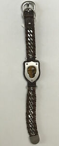 Roberto Arichi Stainless Steel Brown Leather Skull Shield Bracelets 8.5""