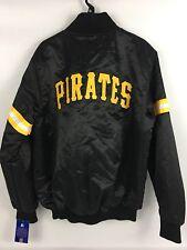 Men's Pittsburgh Pirates Retro STARTER Satin BLACK Button Jacket Coat - Medium