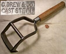 Vintage C Drew Cast Steel Wood Handle Box Scraper Collectible Early Tool