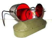 Antique WWII Red Welsh Goggles Sunglasses Spectacles Vtg Old Steampunk Glasses