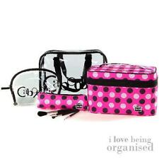 PVC Polka Dot Overnight Toiletry Organiser w/ 4x Carry Bags and 4x Brushes
