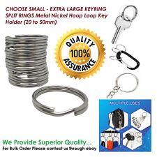More details for choose small - extra large keyring split rings metal nickel hoop loop key holder