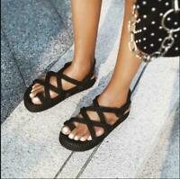 Womens Roman Hollow Out Boho Summer Beach Hemp Rope Sandals Woven Flax Shoes