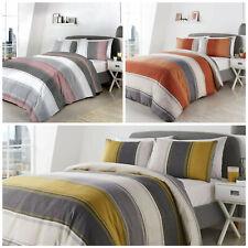 Stripe Duvet Cover Yellow Orange Pink Grey Cotton + Pillowcases Blend by Fusion