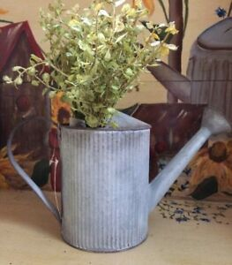 Galvanized Watering Can Rustic Tin Planter Vase Basket Primitive Country Decor