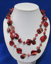 Necklace Beads Shells Assorted Sizes Nos Style & Co Red Shell Strand