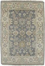 Muted Gray Beige Vintage Inspired 4X6 Oushak Chobi Area Rug Oriental Wool Carpet