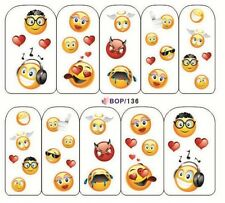 Nail Art Water Decals Transfer Stickers Emoji Mixed Emotion Kawaii (BOP136)