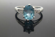 9ct white gold claw set topaz dress ring with diamond accents and hallmark