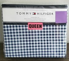 Tommy Hilfiger Navy Blue White Cheched Plaid Queen Sheet Set 4PC