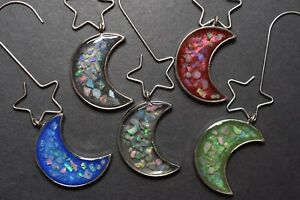 Natural Raw Opal Moon Ornament Charm Set