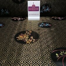 "Greek Key Chinese brocade Silky Smooth Satin fabric 45"" M663 Mtex"