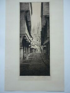 K.Vernon, Etching, Mercery St, Canterbury, pencil signed