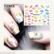 Nail Art Water Decals Transfers Neon Rainbow Handprints Lips Gel Polish (8739)