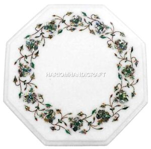 12'' Exclusive Marble Top Coffee Table Pauashell Precious Stone Inlay Deco H3103
