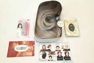 Reecho Middle Part Synthetic Full Wig Brown Platnium Grey Ombre Ear Tabs No Clip