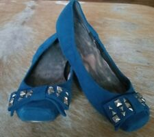Jessica Simpson 8B Sapphire Blue Suede Leather Stud Ballet Flats Loafers