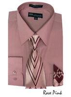 Men's Dress Shirt + Matching Tie + Handkerchief Set 25 Unique Colors SG21A