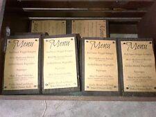 Rustic Mountain Vintage Wedding Decorations Dark Stained Menu Blocks