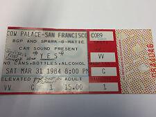 YES Ticket Stub, 3/31/84