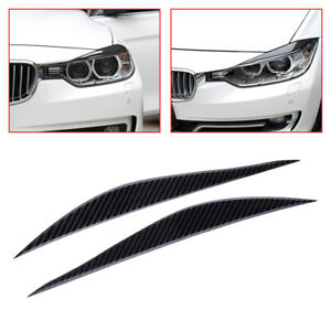 Carbon Fiber Headlight Eyebrow EyeLid Cover Trim Fit for BMW 3 Series F30 13-17