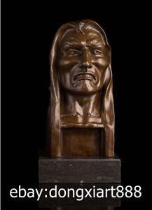 29 CM Western Art Deco Bronze Man Pain expressions Flounder Ornament Sculpture