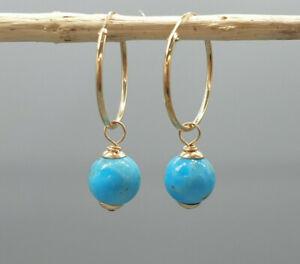 9Ct 9K Yellow Gold 18mm sleeper hoops removable Arizona turquoise beads Earrings