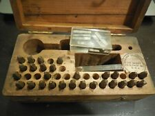 Vintage Alpha/Numeric Stamping set with Wood Case Dog Tags U.S. Army