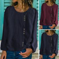 Mode Femme Loisir Simple Ample Manche Longue Col Rond Chemise Haut Shirt Plus