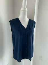 Alice + Olivia Navy Blue Silk Sleeveless Button Front V Neck Shell Blouse SZ S