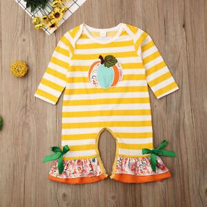 NEW Pumpkin Baby Girls Yellow Striped Ruffle Halloween Romper Jumpsuit