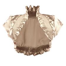Satin Charmeuse Smocking Ruffled Ruched Shrug Bolero Evening Wedding Dress Cover
