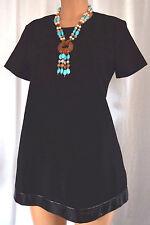 LISA PERRY BLACK SWING MICRO MINI DRESS WITH LAMBSKIN TRIM SHORT SLEEVES SIZE 14