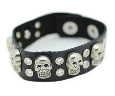 Genuine Leather Bracelet Black Stainless Steel Mens Wristband Skull Head Circle