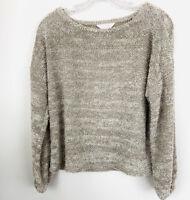 Lauren Conrad LC Women's Size XS Sweater Fuzzy Tan Chenille Crop Pullover